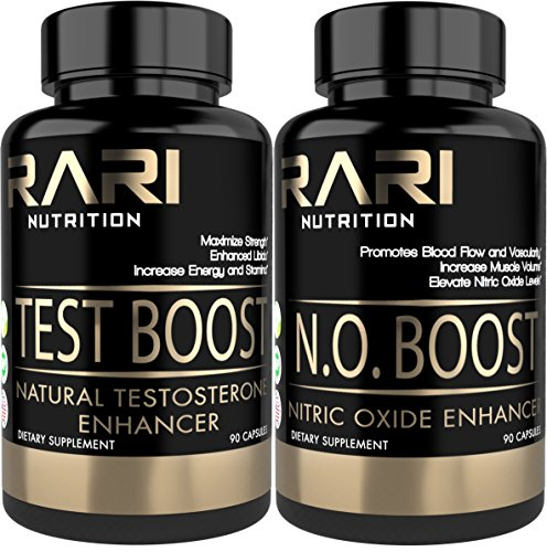 RARI Nutrition - Test Boost + N.O. Boost Combo Pack - 100% Natural Testosterone Booster and Nitric Oxide Enhancing Capsules for Muscle Size, Strength, and Increased Libido - 30 Serving Bottles (Oxide Testosterone Nitric)