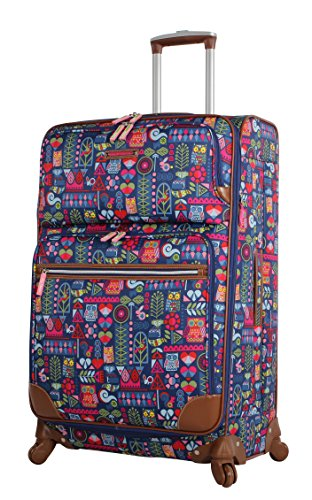 Lily Bloom Luggage Large Expandable Design Pattern Suitcase With Spinner Wheels For Woman (28in, Geo -
