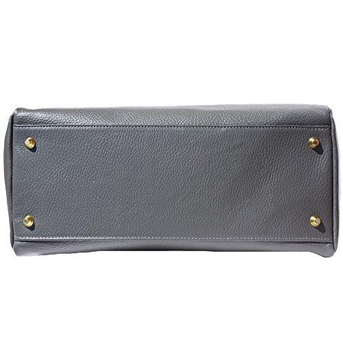 Grigio Vitello Pelle A Mano In Vera Spalla Leather Market Di O Borsa 8058 Morbida Florence 6RBgUxqq