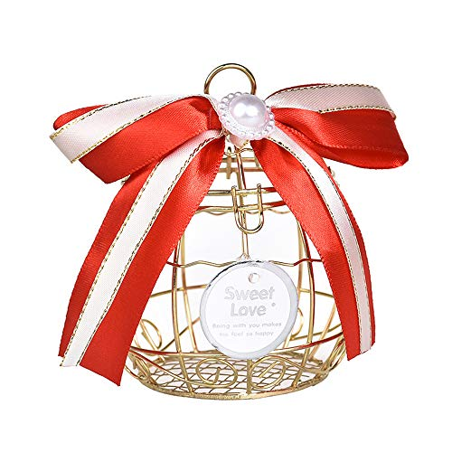 (Party Favor Box, Hollow Bird Cage Wedding Party Gift Tinplate Box Container for Chocolate Candy,6 Pack, Red)