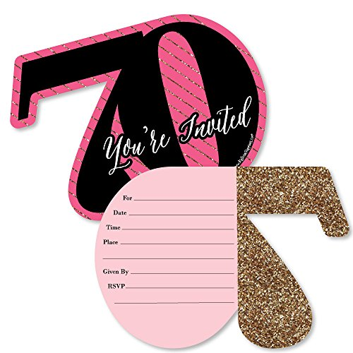 Chic 70th Birthday - Pink, Black and Gold - Shaped Fill-in Invitations - Birthday Party Invitation Cards with Envelopes - Set of 12 -
