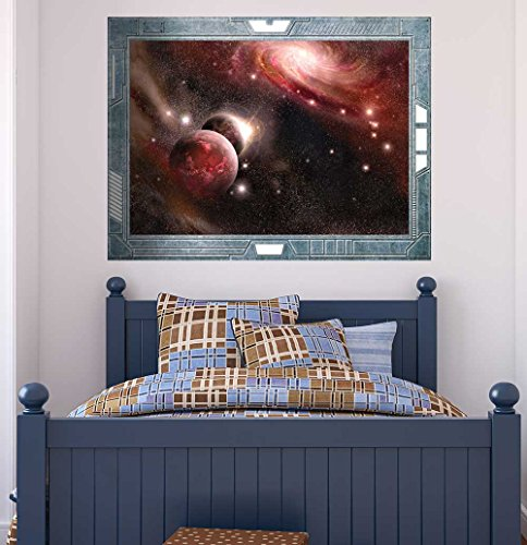 Science Fiction ViewPort Decal Peering into a Red Night Wall Mural