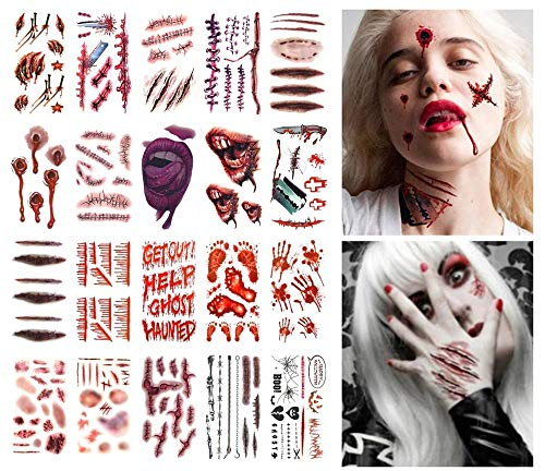 ANGELANGELA 20 Sheets Scary Body Scars Waterproof Temporary Tattoo | 4 Sheets Floral Day of the Dead Sugar Skull Flower Face Tattoo | Bleeding Bloody Wound Scratch Sticker (20 Sheets -