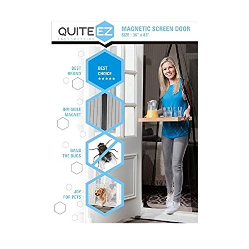 "Premium Magnetic Screen Door, Mesh Curtain : Premium Quality - Bugs Out, Fresh Air in - Dog & Pet Friendly - Screen Size 36"" X 83"" - Fits Door up to 34"" X 82"" MAX - Heavy Duty Velcro - Hidden Magnets - Best Quality by QUITE EZ (Image #1)"