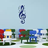 Music Notes with Treble Key Wall Decal by Style & Apply - Highest Quality Wall Sticker, Wall Applique, Home Decor Mural - 2533 - 20in x 50in, Dark gray
