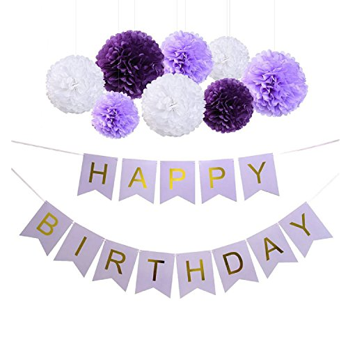 Sopeace Happy Birthday Banner Bunting Kit, Paper Pom Poms flowers Ball with Hanging Party Decorations Banner flags for Birthday Party Decorations - ( Purple, Lavender and White (Purple 30th Birthday Decorations)