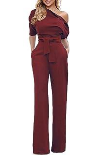 f8877965374 Grace Elbe Women s Wide Leg Slanted One Shoulder Belted Jumpsuits