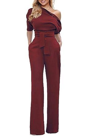 e39097658c Grace Elbe Women s Wide Leg Slanted One Shoulder Belted Jumpsuit Burgundy  Small