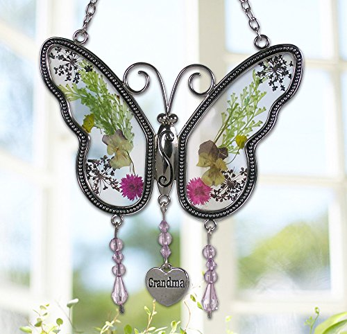 Mom Suncatcher (Grandma Butterfly Suncatcher with Pressed Flower Wings Embedded in Glass with Metal Trim - Grandma Heart Charm - Gifts for Grandma - Grandma Gifts)