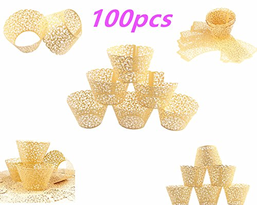 Yansanido 100 set pink Filigree Artistic Bake Little Vine Lace Laser Cut Cupcake Wrapper Cup Muffin Case Trays Collars Wrappers (100pcs gold)
