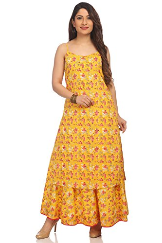 BIBA Women's Yellow Front Open Cotton Kurta Size 34 by Biba (Image #1)