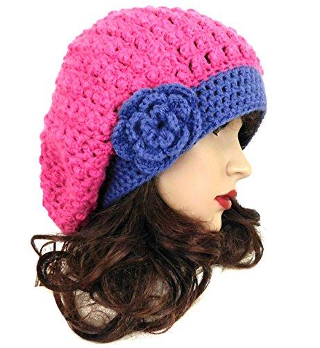 Alpaca Wool Beanie Beret Slouchy Flower Crochet Winter Women's Hat (Pink)
