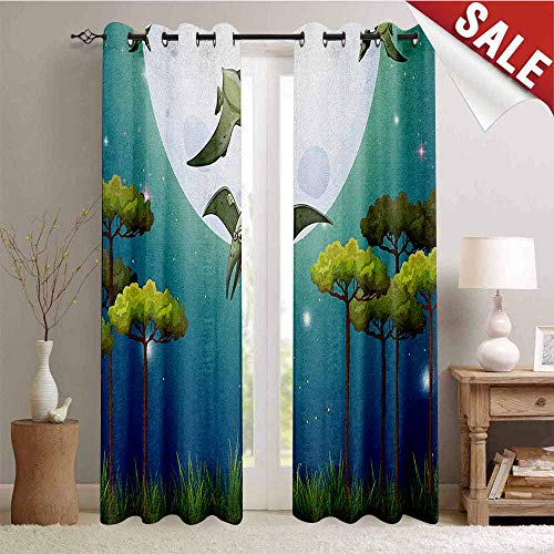 Dinosaur, Waterproof Window Curtain, Cartoon Style Dinosaurs Flying on Full Moon Magical Night Enchanted Forest, Room Darkening Wide Curtains, W72 x L84 Inch Green White Blue