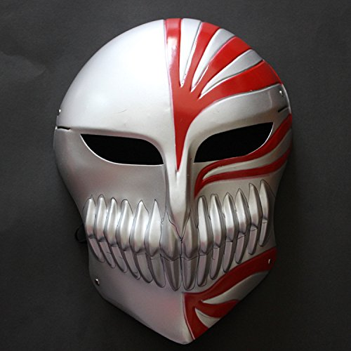 CharlyZhou's Shop Mardi Gras Masquerade Bleach Ichigo Kurosaki Full Hollow Halloween Cosplay Movie Theme Mask Fancy Dress CosPlay Bleach Kurosaki Ichigo Mask (red)