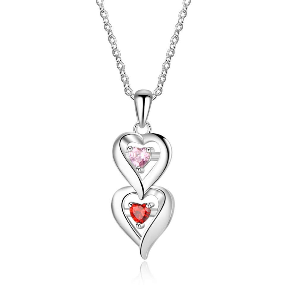 Meеt U 2 Heart Personalized 2 Birthstone Engrave Name Pendant Necklace 925 Sterling Silver for Mom Girlfriend