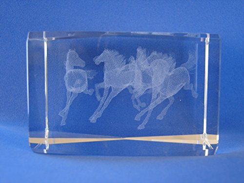 Feng Shui Import Laser Engraved 3D Horses in Crystal Glass Cube