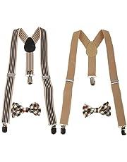 Prettyia 2Styles Toddler Kids Boys Adjustable Suspender Clip-on Braces + Bow Tie Sets