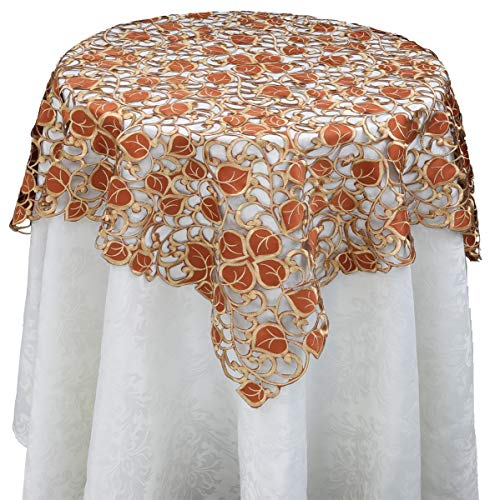 Creative Linens Fall Autumn Harvest Thanksgiving Embroidered Cutwork Leaf Tablecloth 34