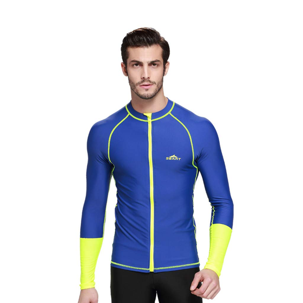 Allywit Men's Wetsuit Top Jacket, Neoprene Jacket Long Sleeve Front Zip Wetsuit Shirt for Diving Surfing Snorkeling Rafting Blue