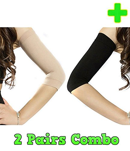 HealthyNees 2 Pairs Combo Slimming Compression Arm Shaper Helps Tone Shape Upper Arms Sleeve by HealthyNees
