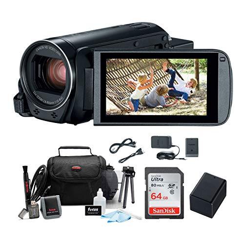 - Canon VIXIA HF R800 Camcorder (Black) + SanDisk 64GB Memory Card + Spare Battery + Case & Deluxe Accessory Bundle