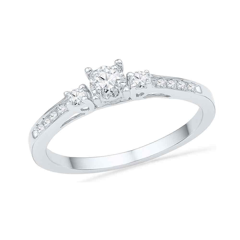 10kt White Gold Womens Round Diamond 3-stone Promise Bridal Ring 1/6 Cttw