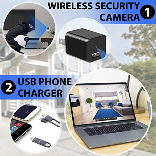 Hidden Camera - Spy Camera - APP Remote View - HD 1080P - WiFi Camera - Wireless Camera - Surveillance Camera - Mini spy Camera - USB Camera - Nanny Camera - Best Spy Camera Charger - Improved 2020