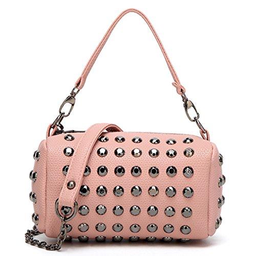 HopeEye mujer Tendencias de la moda Cuero De La Pu Mochila para mujer(gzaspunb11-5-Pink) 5-rosa