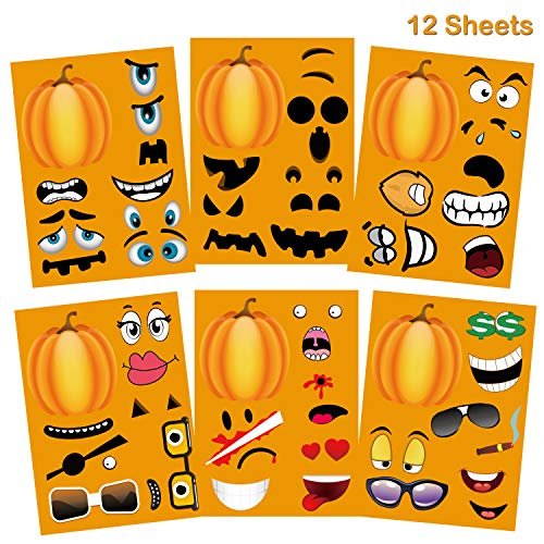 Jumbo Make A Pumpkin Stickers Funny Halloween Party