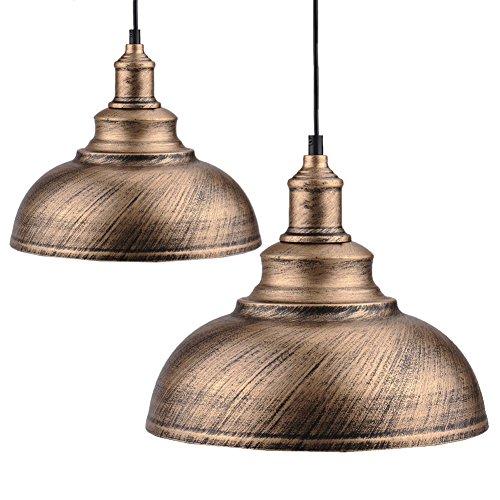 2pcs Vintage Pendant Lamp, Motent Industrial Retro Metal Dome/Bowl Shape Hanging Light in Brushed Finish, Antique Minimalist 1-Light Iron Wrought Droplight, 11.4