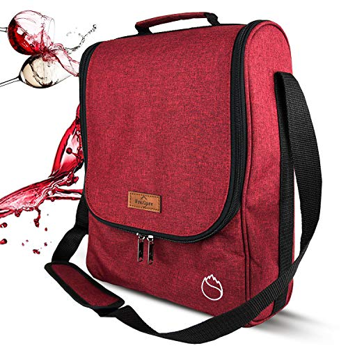 (Freshore Insulated Wine 3 Bottle Carriers Tote Travel Cooler Gift Bag For Airplane Liquor With Padded Shoulder Strap (Wine Red))