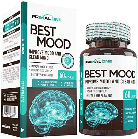 Best Mood Nootropic Mood Booster & Stress Relief Supplement for a Calm Mind, Clear Focus, Mental Clarity - Supports Dopamine & Serotonin w/KSM-66 Ashwagandha, Bacopa, L-Theanine - 60 Veggie Pills