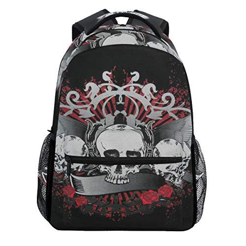 Skull Wings Floral Vintage Halloween Retro Backpack Bookbags Daypack Travel School College Bag for Womens Mens Teens ()