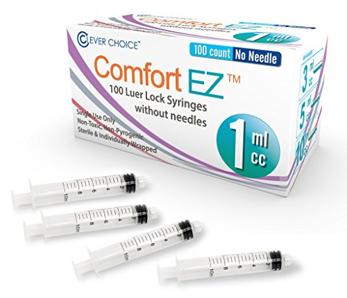 1ml Syringe Only with Luer Lock Tip - 100 Syringes by Comfort EZ (No Needle)