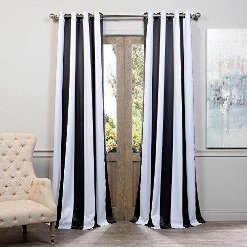 Half Price Drapes BOCH KC43 84 GR Grommet Blackout Curtain Awning Black White Stripe
