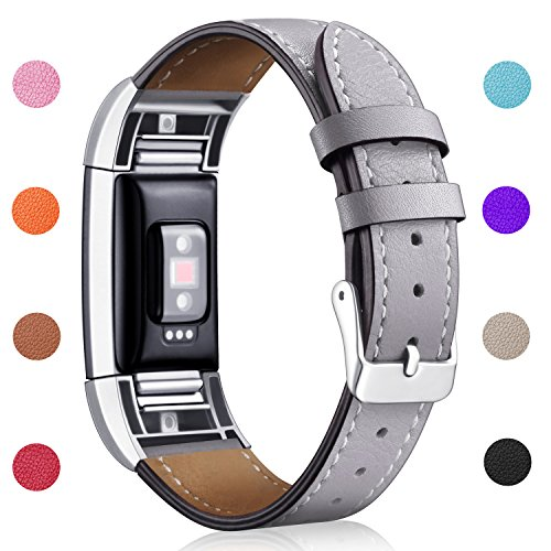Hotodeal Band Compatible Charge 2 Replacement Bands, Classic Genuine Leather Wristband Metal Connectors, Fitness Strap Women Men Small Large Grey