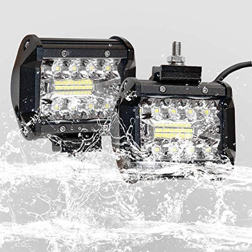 Bar LED Voiture EKLAMP 60W Phare de Travail Feux de Travail Longue Portee LED Phare de Travail Voiture 2PCS LED Phare 12v Phare LED Moto IP67 6000-6500K Lampe de Travail pour ATV