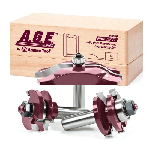 - A.G.E. Series by Amana Tool MD500 Ogee Raised Panel Door Making Carbide Tipped Router Bit Set, 1/2-Inch Shank, 3-Piece