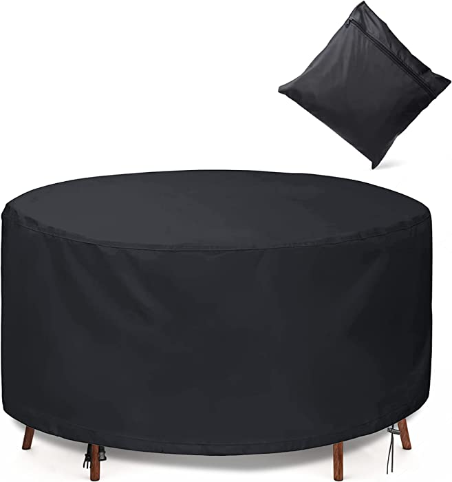 GORDITA Patio Furniture Covers Round Outdoor Table Chair Set Covers, 600D Oxford Outdoor Furniture Covers -Windproof Waterproof, Rain Snow Dust Cover for Medium Round Table Chairs Set,72 inch Diameter