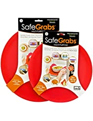 Safe Grabs 2-Piece 8-in-1 Multipurpose Silicone Microwave 10-inch and 12-inch Splatter Guard Set, Red