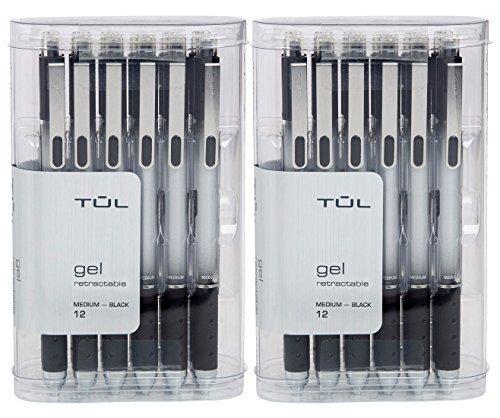 TUL Retractable Gel Pens 0.7mm Medium Point, Black Bundle (2 12-packs)