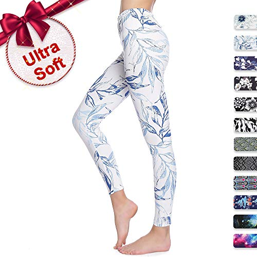 (Print Leggings for Women Plus Size Soft with Design Floral Cute Under Pants White)