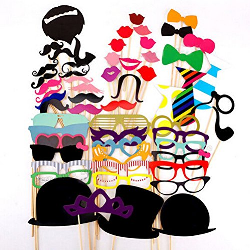 [ThyWay Photo Booth Props 76 PCS DIY Kit for Wedding Party Reunions Birthdays Photobooth Dress-up Accessories & Party Favors, Costumes with Mustache on a stick, Hats, Glasses, Mouth, Bowler,] (Mustache Costumes Ideas)