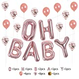 """16'' Rose Gold Of """"OH BABY"""" Letters Foil Balloons Kit Baby Girl/Boy Shower Balloons/Happy Birthday Occasion newborn Party Decorations Balloons(oh new baby)"""