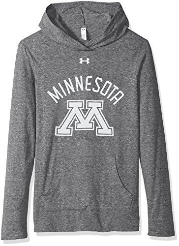 Under Armour NCAA Minnesota Golden Gophers Women's Long Sleeve Hooded Tee, X-Large, Heather Gray