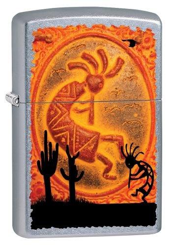 Zippo 207 60002721 PL Kokopelli Southwestern Benzinfeuerzeug, Messing, Street Chrom, 1 x 3,5 x 5,5 cm