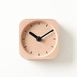 Pana Objects Pixel Natural Wooden Desk Clock for home and office (Black)