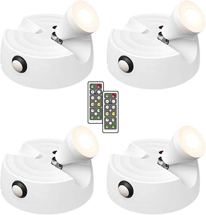 Olafus 4 Pack Wireless Spotlight, 200LM LED Accent Lights Battery Operated, Dimmable Puck Light with Remote Control, 2700K Warm White Small Uplights for Display Paintings Picture Artwork Closet