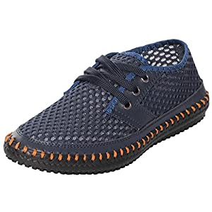 UJoowalk Men's Casual Breathable Flexible Outdoor Lace up Sneakers Quick Drying Mesh Aqua Water Shoes (10.5 D(M) US, Blue)