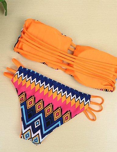 ZQ sin tirantes de la mujer geométrico patrón inalámbrico con parte superior acolchada parte inferior Bikini bañadores, orange-l, medium blue-m